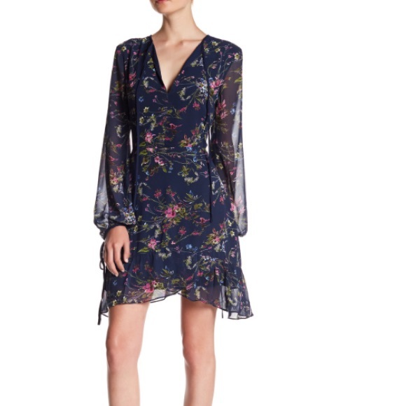 Adelyn Rae Dresses & Skirts - Adelyn Rae Navy Floral Printed Ruffle Dress